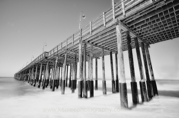 Mystic Pier, Ventura (black and white)