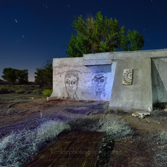Night Time By the Mayan Walls of the Mojave (4137) Abandoned movie lot, Mojave Desert. Everything here was very consistently Roman or Greek.