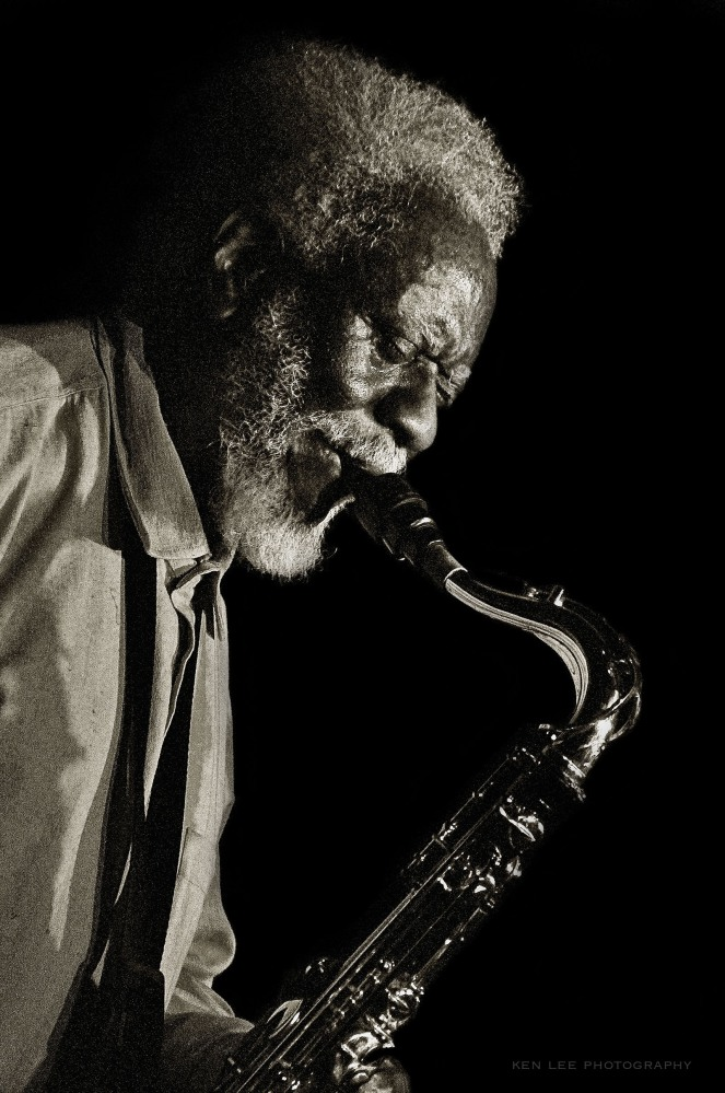 Pharoah Sanders performing live at Catalina Bar and Grill in Los Angeles, March 2011. He has played with luminaries such as the ever-passionate Billy Higgins and Alice Coltrane. He is musical joy personified in person. This was taken before I began doing night photography. You may be able to see a Herman Leonard influence here.